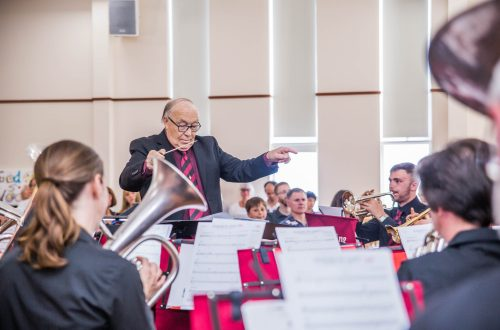 David Ruel pictured in concert with the Reading Spring Gardens Brass Band