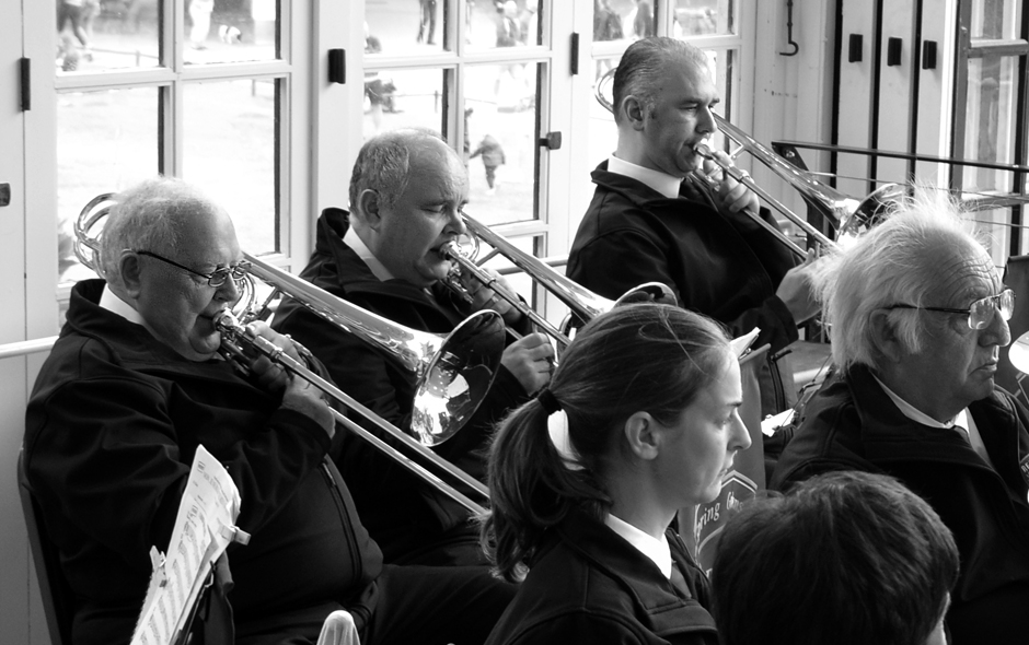 Ron Curtis, bass trombone player with The Reading Spring Gardens Brass Band