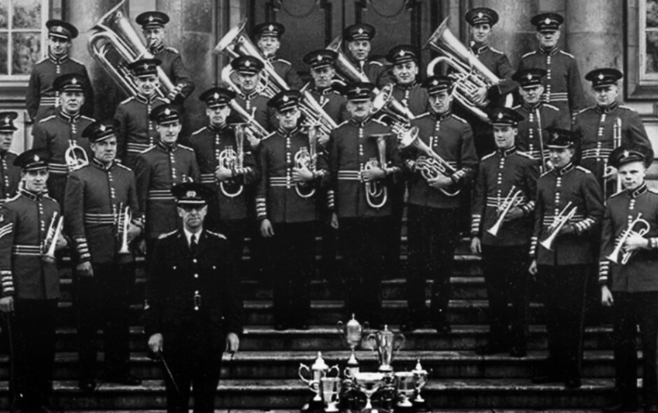 Reading Spring Gardens Brass Band c.1950 pictured with conductor George Watkins